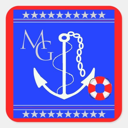Nautical-Anchor Monogram Square Sticker