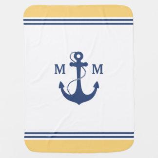 Nautical Anchor Monogram Swaddle Blanket
