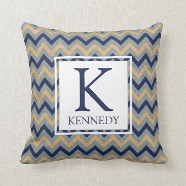 Beach Themed Nautical Anchor Monogram Throw Pillow