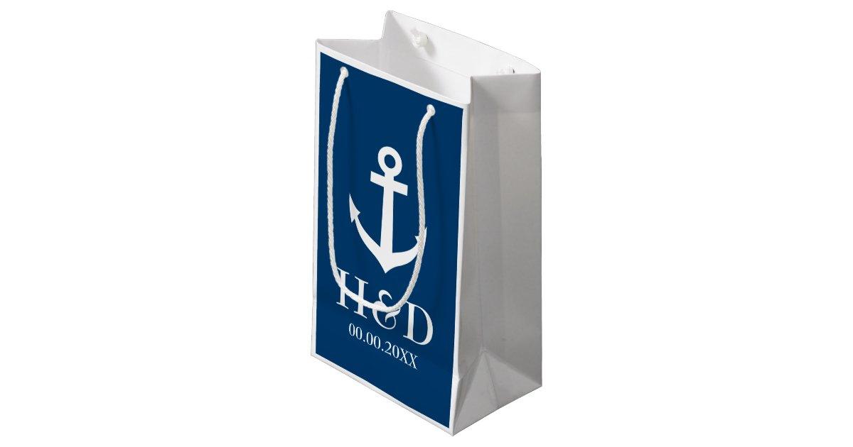 Zazzle Wedding Gift Bags : Nautical anchor monogram wedding favor gift bags Zazzle