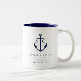 Nautical Anchor Monogram Wedding Favor Two-Tone Coffee Mug