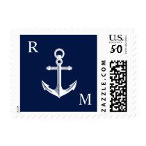 Nautical Anchor Monogram White   Navy Postage