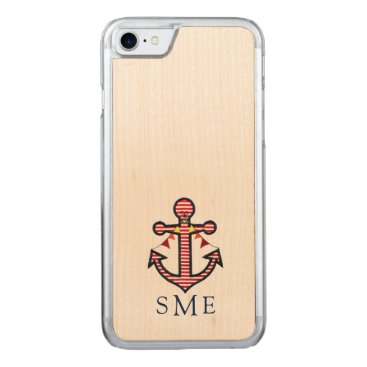 Beach Themed Nautical Anchor Monogram with Red & White Stripes Carved iPhone 7 Case