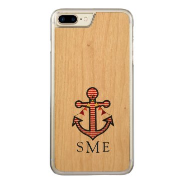 Beach Themed Nautical Anchor Monogram with Red & White Stripes Carved iPhone 7 Plus Case
