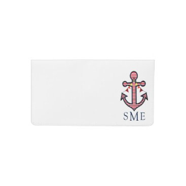 Beach Themed Nautical Anchor Monogram with Red & White Stripes Checkbook Cover