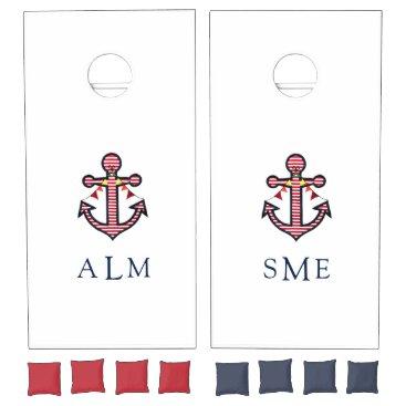Beach Themed Nautical Anchor Monogram with Red & White Stripes Cornhole Set