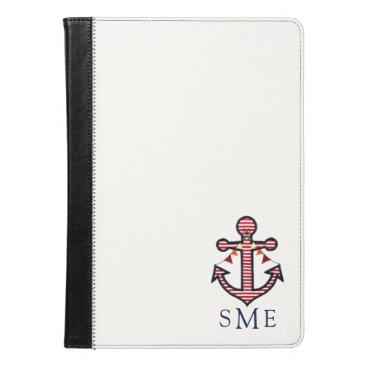 Beach Themed Nautical Anchor Monogram with Red & White Stripes iPad Air Case