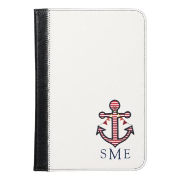 Beach Themed Nautical Anchor Monogram with Red & White Stripes iPad Mini Case