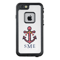 Nautical Anchor Monogram with Red & White Stripes LifeProof FRĒ iPhone 6/6s Case