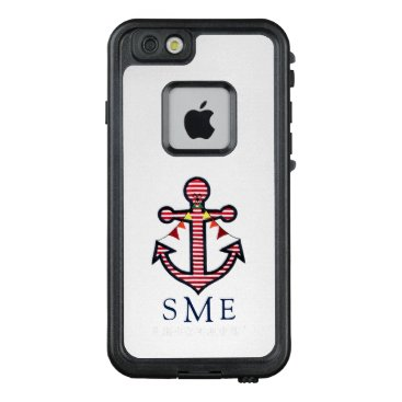 Beach Themed Nautical Anchor Monogram with Red & White Stripes LifeProof® FRĒ® iPhone 6/6s Case
