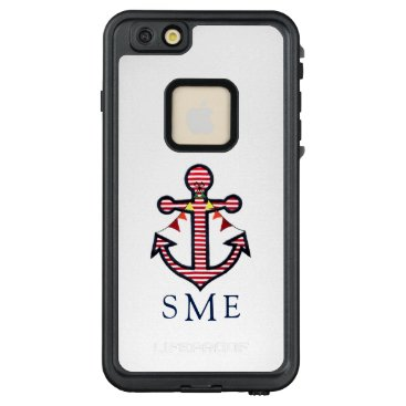 Beach Themed Nautical Anchor Monogram with Red & White Stripes LifeProof® FRĒ® iPhone 6/6s Plus Case