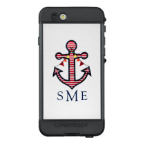 Nautical Anchor Monogram with Red & White Stripes LifeProof NÜÜD iPhone 6s Case