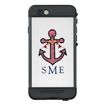 Beach Themed Nautical Anchor Monogram with Red & White Stripes LifeProof® NÜÜD® iPhone 6s Case