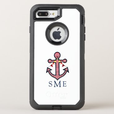 Beach Themed Nautical Anchor Monogram with Red & White Stripes OtterBox Defender iPhone 7 Plus Case