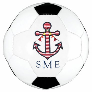 Beach Themed Nautical Anchor Monogram with Red & White Stripes Soccer Ball