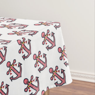 Nautical Anchor Monogram With Red U0026amp; White Stripes Tablecloth