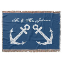 Nautical anchor mr and mrs throw blanket | Blue