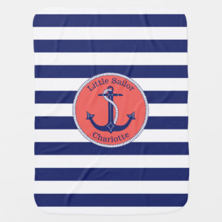 Nautical Anchor Navy and Coral Personalized Stroller Blanket
