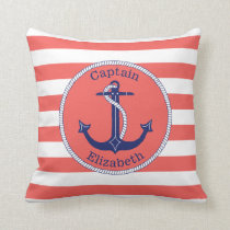 Nautical Anchor Navy and Coral Personalized Throw Pillow