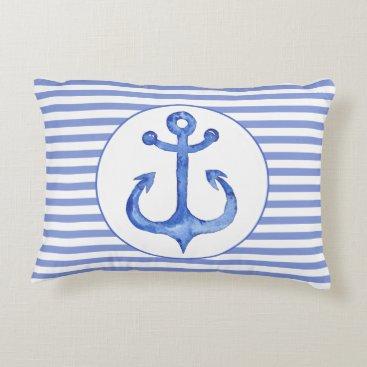Beach Themed Nautical Anchor - Navy Blue Accent Pillow