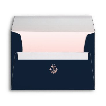 Beach Themed Nautical Anchor Navy Blue and Blush Envelope