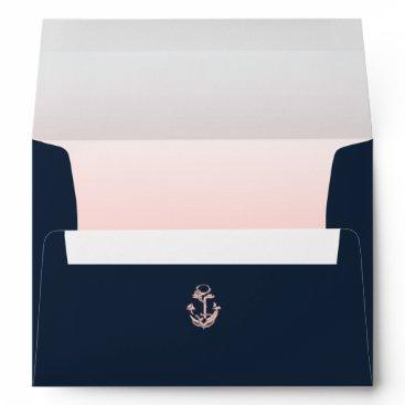 Nautical Anchor Navy Blue and Blush Envelope