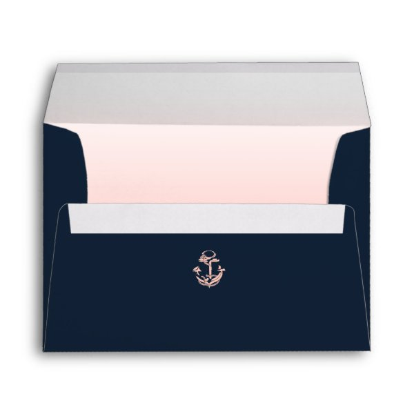 Nautical Anchor Navy Blue and Blush Envelope