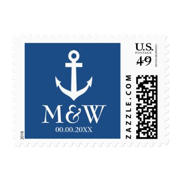 Beach Themed Nautical anchor navy blue and white wedding stamps