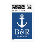 Nautical anchor navy blue and white wedding stamps