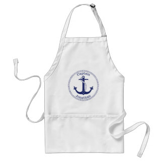 Nautical Anchor Navy Blue Captain Personalized Adult Apron