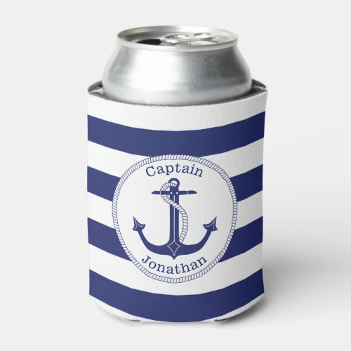Nautical Anchor Navy Blue Captain Personalized Can Cooler
