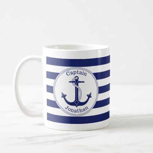 Nautical Anchor Navy Blue Captain Personalized Coffee Mug