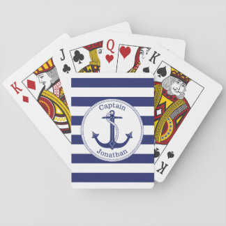Nautical Anchor Navy Blue Captain Personalized Playing Cards