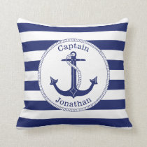 Nautical Anchor Navy Blue Captain Personalized Throw Pillow