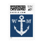 Nautical anchor navy blue monogram postage stamps