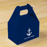 Nautical Anchor Navy Blue Personalized Gable Favor Box