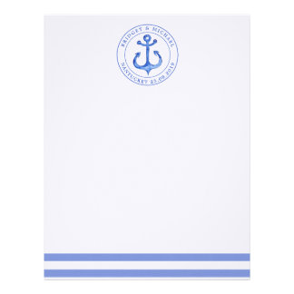 Nautical Anchor Navy Blue Personalized Wedding Letterhead
