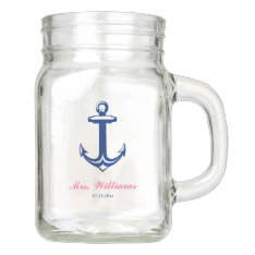 Nautical Anchor Navy Blue Pink Personalized Mason Jar at Zazzle