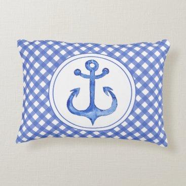Beach Themed Nautical Anchor - Navy Blue Plaid Accent Pillow