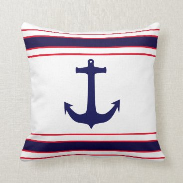 Beach Themed Nautical Anchor Navy Blue Red Stripes Throw Pillow