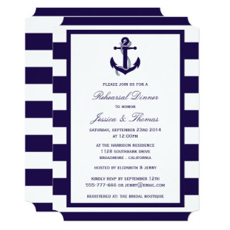 Nautical Anchor Navy Blue Stripe Rehearsal Dinner Card
