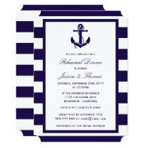 Nautical Anchor Navy Blue Stripe Rehearsal Dinner Invitation