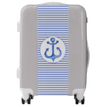 Nautical Anchor - Navy Blue Striped Carry On Luggage
