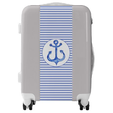 Beach Themed Nautical Anchor - Navy Blue Striped Carry On Luggage