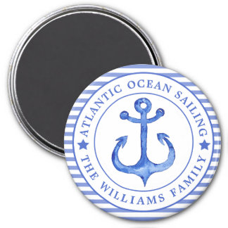 Nautical Anchor Navy Blue Striped Personalized Magnet