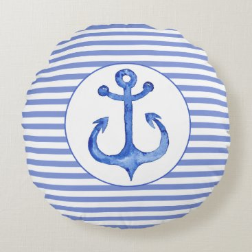 Beach Themed Nautical Anchor - Navy Blue Striped Round Pillow
