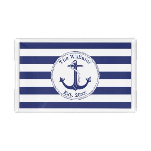 Nautical Anchor Navy Blue Stripes Family Name Acrylic Tray