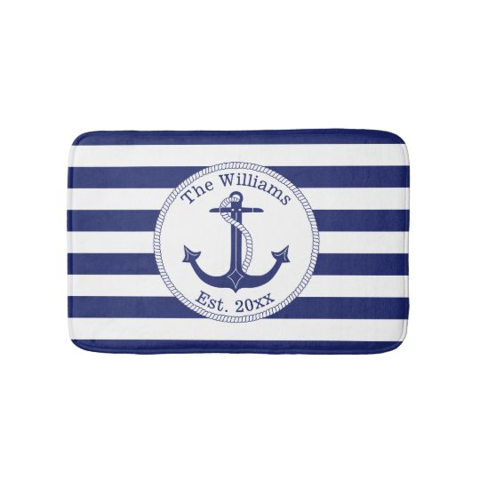 Nautical Anchor Navy Blue Stripes Family Name Bathroom Mat