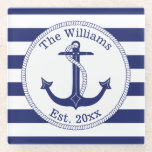 """Nautical Anchor Navy Blue Stripes Family Name Glass Coaster<br><div class=""""desc"""">This nautical design has a navy blue anchor with a circular rope border.   Personalize with your own family name and year of establishment,  or replace with other text.  Background is navy blue and white stripes.</div>"""