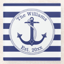 Nautical Anchor Navy Blue Stripes Family Name Glass Coaster